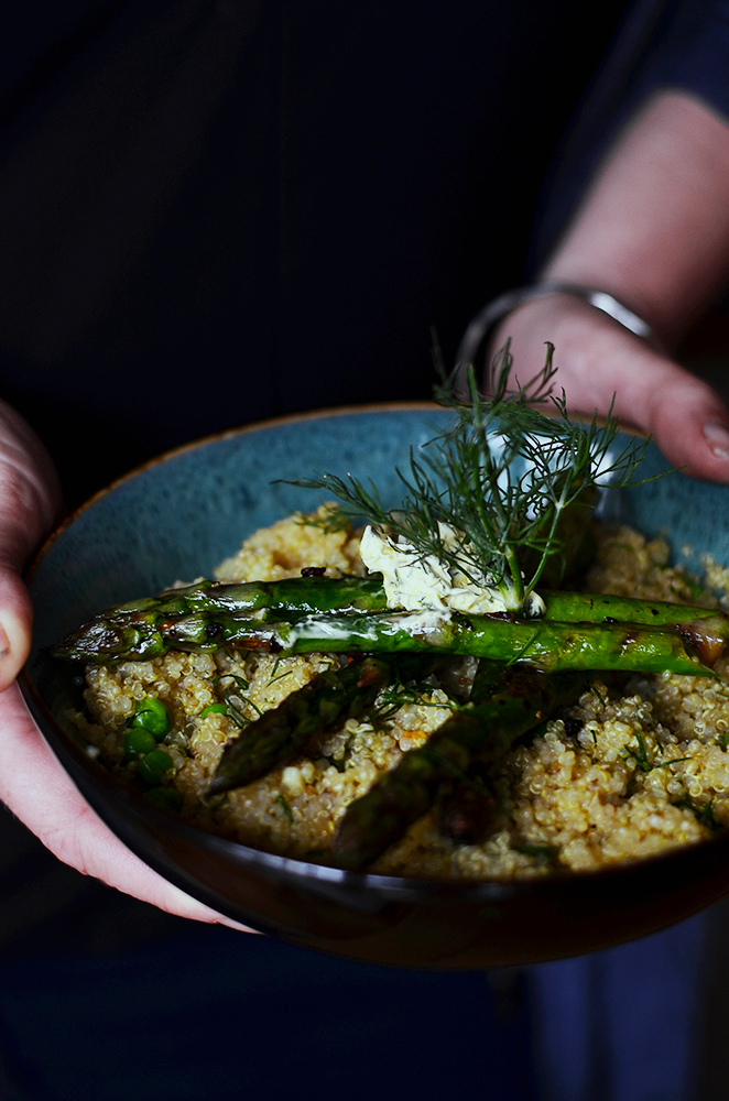 Grilled Asparagus Quinoa Risotto   The Hungry Herbivores